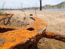 Le parti di metallo arrugginite si avvicinano alla palude Immagine Stock Libera da Diritti