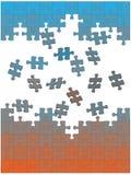 Le parti di puzzle del puzzle cadono insieme come soluzione Immagine Stock Libera da Diritti