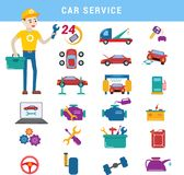 Le parti di riparazione di servizio dell'automobile ed il ragazzo del meccanico vector le icone veicolo e le attrezzature dell'au Fotografia Stock Libera da Diritti