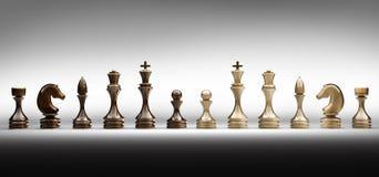 Le parti di scacchi hanno impostato un completo Fotografie Stock