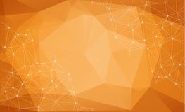 Le particelle astratte sopra fondo arancio con splendere scintilla V illustrazione di stock