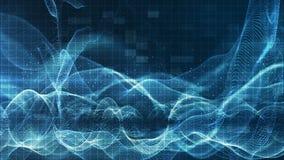 Le particelle blu scintillanti digitali astratte ondeggiano il flusso e spolverano per il fondo di moto video d archivio