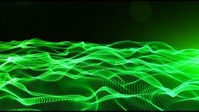 Le particelle digitali astratte di colore verde ondeggiano con bokeh e fondo leggero royalty illustrazione gratis