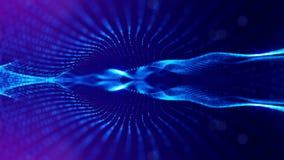 Le particelle formano la linea, la griglia di superficie o lo spazio virtuale misterioso animazione senza cuciture 3d come fantas illustrazione di stock