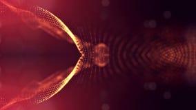 Le particelle formano la linea, la griglia di superficie o lo spazio virtuale misterioso animazione senza cuciture 3d come fantas illustrazione vettoriale