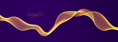 Le particelle scorrenti ondeggiano sopra fondo scuro, linee sane dinamiche della curva di moto illustrazione di vettore 3d Matric illustrazione di stock