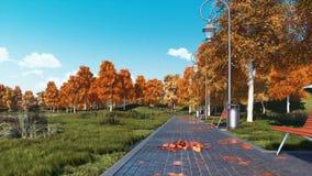 Le passage couvert avec des bancs et les arbres d'automne dans la ville se garent banque de vidéos