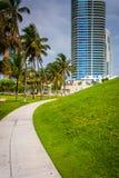 Le passage couvert et le gratte-ciel chez Pointe du sud se garent, Miami Beach, fleuri Photo libre de droits