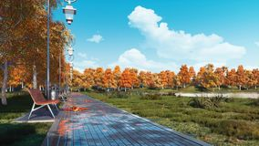Le passage couvert et les bancs vides de trottoir en automne se garent clips vidéos