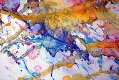 Le pastel bleu rouge de jaune orange repère le fond, la peinture cireuse boueuse de scintillement, fond de formes de contraste da Photo libre de droits