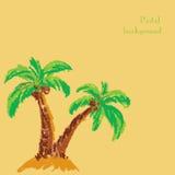 Le pastel fait main de dessin marque le fond à la craie de palmier Photo libre de droits