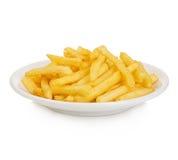 Le patate frigge nel piatto isolato su bianco Fotografia Stock Libera da Diritti