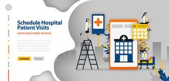 Le patient hospitalisé visite le programme, hôpital programmant, application de planification d'hôpital le concept d'illustration illustration de vecteur