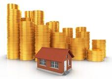 le patrimoine de concept de fond investissent le blanc réel d'isolement Petite Chambre avec des piles de pièces de monnaie illustration stock