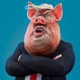 Le patron de porc parle avec l'illustration 3D croisée par bras illustration stock