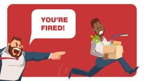 Le patron fâché Dismiss Bad Worker a effrayé la course des employés illustration stock