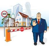 Le patron interdit, barrière, signe d'arrêt, bâtiments Photo libre de droits