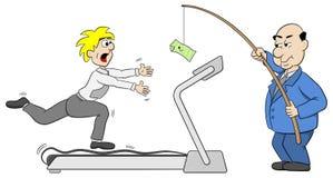 Le patron leurre un employé avec l'argent Photo stock
