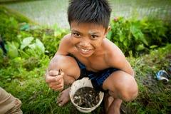 Le pauvre enfant pêche de petits poissons dans un fossé photos stock
