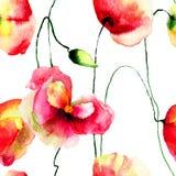 Le pavot stylisé fleurit l'illustration Image libre de droits