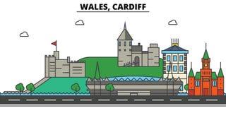 Le Pays de Galles, Cardiff Architecture d'horizon de ville editable Images stock