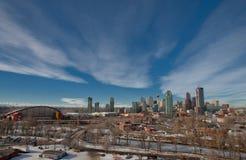 Le pays des merveilles de l'hiver à Calgary du centre Images libres de droits