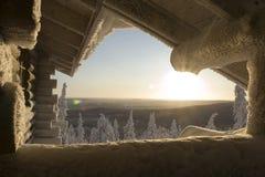 Le pays des merveilles de l'hiver de la Laponie Photo libre de droits