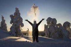 Le pays des merveilles de l'hiver de la Laponie Photo stock