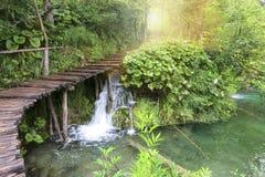 Le pays des merveilles de nature de lacs Plitvice Photographie stock libre de droits