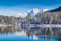 Le pays des merveilles idyllique d'hiver avec le lac de montagne dans les Alpes Photographie stock libre de droits