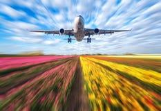 Le paysage avec l'avion de passager vole en ciel bleu brouillé Image stock