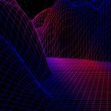 Le paysage avec la grille de wireframe de 80s a dénommé le rétro jeu d'ordinateur ou la structure du fond 3d de la science ave illustration libre de droits