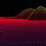 Le paysage avec la grille de wireframe de 80s a dénommé le rétro jeu d'ordinateur ou la structure du fond 3d de la science avec l illustration libre de droits