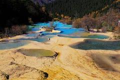 Le paysage coloré d'automne du parc national de Huanglong Photographie stock libre de droits