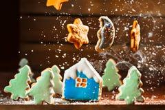Le paysage d'hiver avec des maisons des biscuits et les arbres de Noël musardent des étoiles Photographie stock