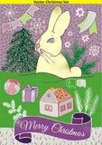Le paysage d'hiver avec le lapin et le Noël dirigent les éléments, la maison, les arbres, les cadeaux, les étoiles et la bannière illustration stock