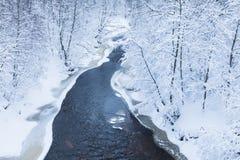 Le paysage de la petite rivière ou du ruisseau dans la belle forêt d'hiver ou en parc photos libres de droits