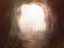 Le paysage de la poussière du soleil forrest d'arbres de fond de conte de fées image stock