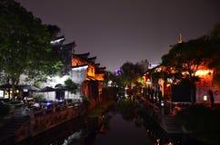 Le paysage de la ville antique de Yuehe chez Jiaxing, Chine Photographie stock