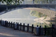 Le paysage de matin avec un lac en parc de ville photographie stock