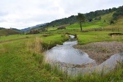 Le paysage de montagne dans le matin nuageux d'automne - Fundatura Ponorului, Roumanie photographie stock
