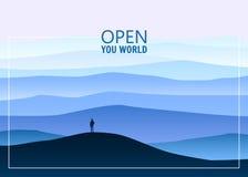 Le paysage de montagne de Minimalistic, ouvrent votre monde, explorateur seul, horizon, perspective, vecteur, illustration, d'iso illustration stock