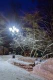 Le paysage de nuit d'hiver - banc en parc Images stock