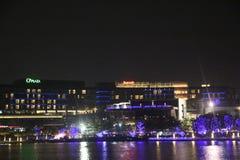 Le paysage de nuit de la côte de joie de Shenzhen image stock