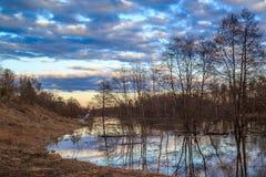 Le paysage de ressort, versent une inondation de rivière Image stock