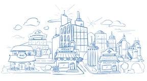 Le paysage de ville avec les bâtiments modernes crayonnent le croquis, tiré par la main, illustration de vecteur de griffonnage illustration de vecteur