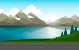 Le paysage des forêts, des montagnes, de la route et du lac illustration stock