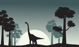 Le paysage du brachiosaurus silhouette le vecteur Photographie stock