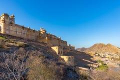 Le paysage et le paysage urbain impressionnants chez Amber Fort, destination célèbre de voyage à Jaipur, Ràjasthàn, Inde Vue gran Image libre de droits