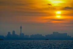Le paysage marin de tour pendant le matin, Thaïlande Image stock
